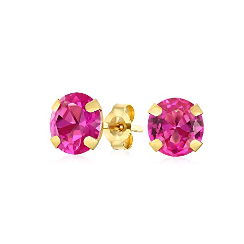 1.4CT Round Gemstone Pink Tourmaline Stud Earrings For Women Real 14K Yellow Gold October Birthstones 6MM