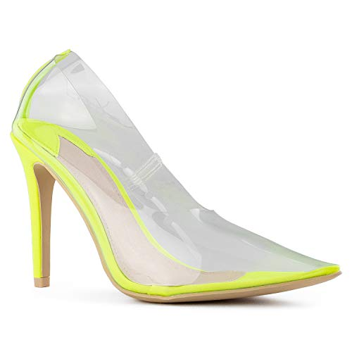 Pointy Toe Stiletto Heel - RF ROOM OF FASHION Clear Transparent Pointy Toe Stiletto Heel Pumps NEON Yellow Size.11