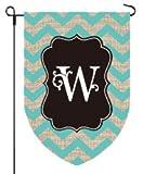Home Garden Flag Best Deals - Home Garden Flags Monogram - Chevron Burlap - 12.5 x 18 (LETTER W)