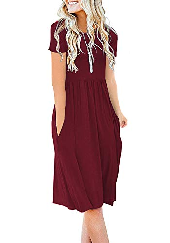 DB MOON Womens Summer Casual Empire Waist Dresses with Pockets (Wine Red,L) ()