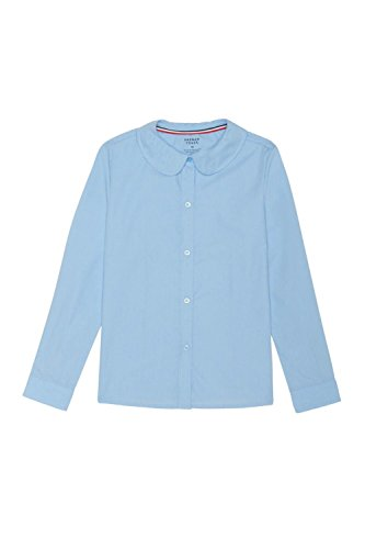 French Toast Girls' Toddler Long Sleeve Modern Peter Pan Collar Blouse, Light Blue, 4T