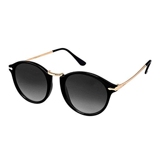 Younky Unisex UV Protected Round Stylish Mercury Sunglasses For Men Women Boys & Girls (RPRDWAY-BB|55|Black) - 1 Sunglass Case