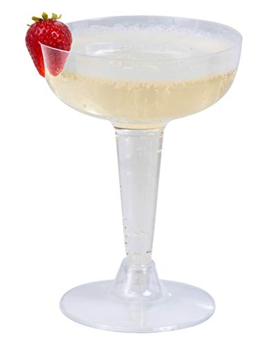 Plastic Hollow-Stem Champagne Glasses / Martini Toasting Glasses | Perfect for Cocktail party Cups | Bulk Pack 100 Count