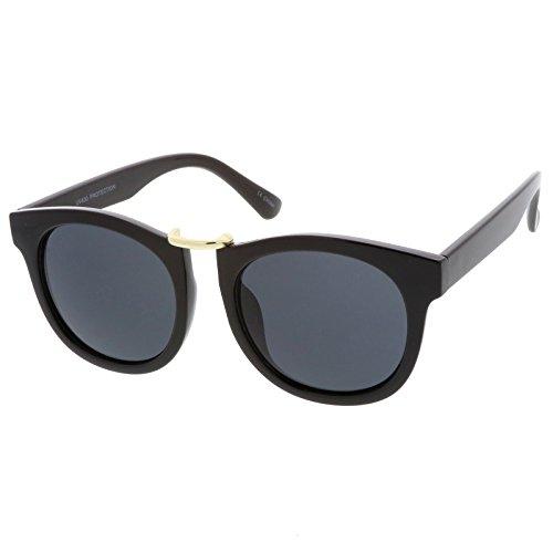 sunglassLA - Horn Rimmed Metal Nose Bridge Round Lens Classic Sunglasses 52mm (Black Gold / - Asos Sunglasses Wayfarer