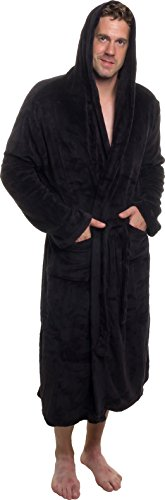 (Ross Michaels Mens Hooded Robe - Plush Shawl Kimono Bathrobe (Black, XXL))