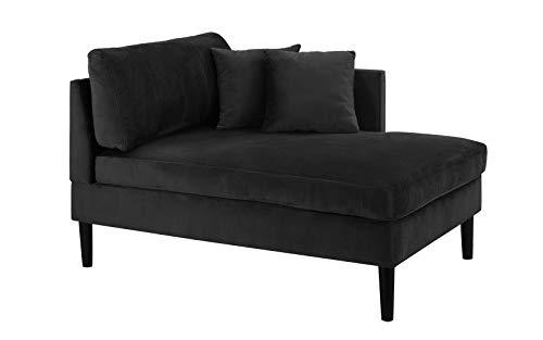 Mid Century Modern Plush Velvet Chaise Lounge (Black)