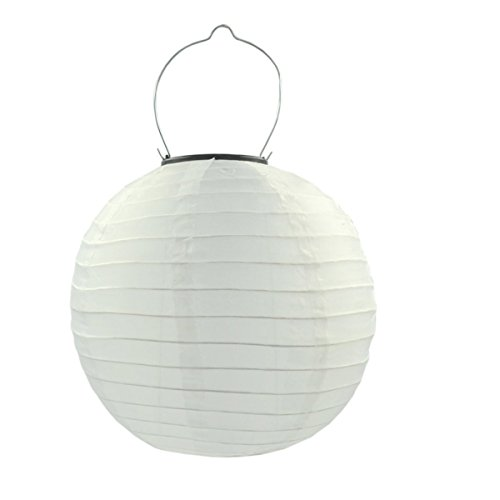 MENGCORE Pack of 6 10 Solar Powered LED Light Chinese Nylon Fabric White Lantern Lamp Lighting for Garden Outdoors -no Batteries or Plug Needed (White)