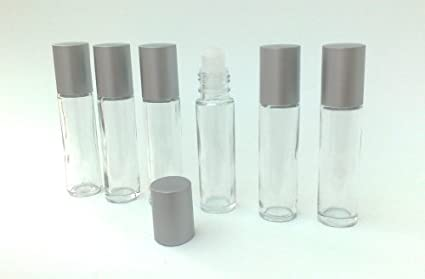 6 x botellas de roll on de cristal transparente 10 ml con ajuste bola y tape