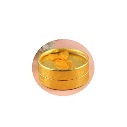 (AMDXD Jewelry Storage Earrings Cardboard Round Bowknot Gold Bracelet Box Organizer)