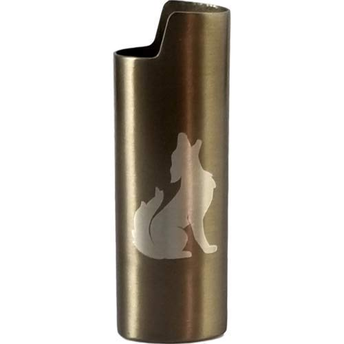 Howling Wolf Design Lighter Cover Metal (MANY COLORS)