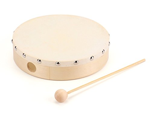 Foraineam 8 Inches Hand Drum Goatskin Drumhead Wood Frame Drum with Beater