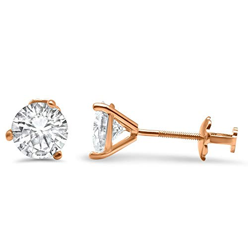 14k Rose Gold Martini 3 prong threader earrings Forever ONE Colorless Moissanite solitaire