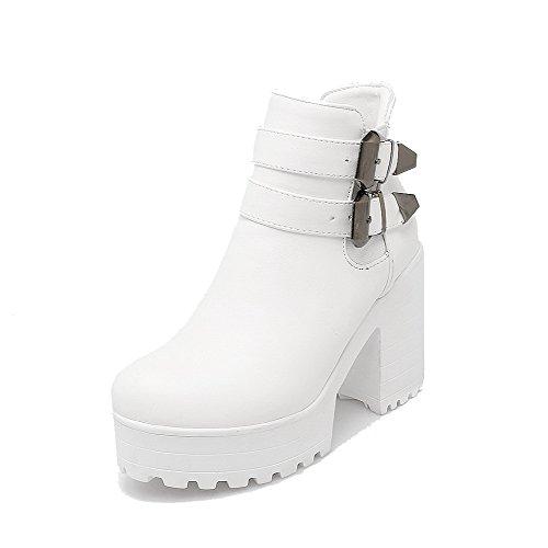 AgooLar Women's Solid High-Heels Round Closed Toe PU Zipper Boots White BTMKCL