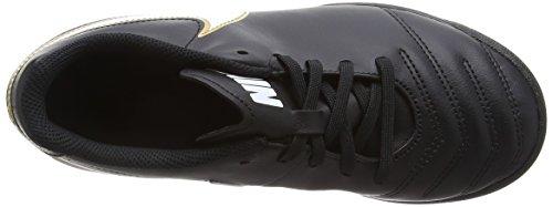 Nike JR Tiempo Rio III TF, Botas de Fútbol para Niños Negro / Blanco / Dorado (Black / White-Metallic Gold)
