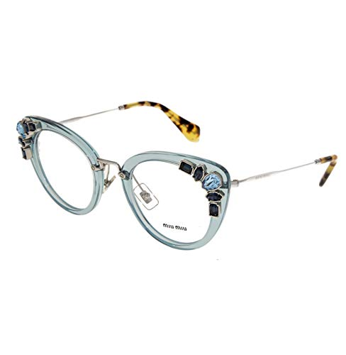 MIU MIU RUNWAY JEWEL 05P Azure Silver Cat Eye Glasses RX Optical Frame ()