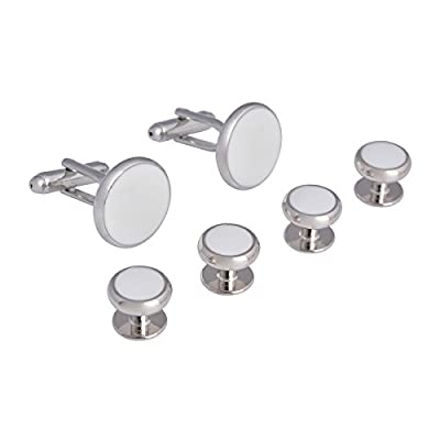 Covink Formal Gentlemen Cufflinks and Studs Set for Tuxedo Shirts Business Wedding (Silver White Set)