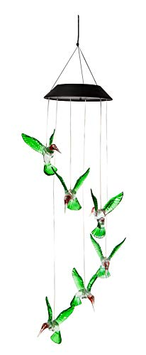 The Paragon LED Solar Hummingbird Wind Chime, Changing Color Waterproof Six Hummingbird Wind Chimes for Home, Party, Night, Porch or Indoors, Make Perfect Garden or Yard Decor ()