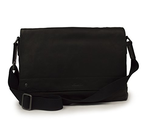 Black Glazed Leather Messenger (Kenneth Cole