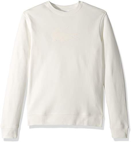 Lacoste Men's Crew Neck Felt Crocodile Fleece Sweatshirt, Flour, Small