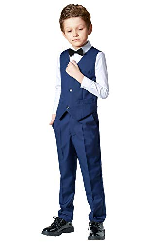 Toddler Suits for Boys Wedding Suit Dress Shirt Navy Blue Vest and Pants Sets for Boy with Bow Tie Size 4T