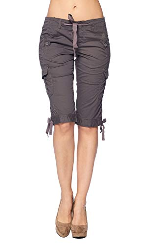 - Blue Age Women's Bermuda Multi-Pocket Cargo Drawstring Shorts (R6566_CH_7)