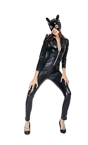 [Bulacker Patent Leather Section Catwoman Costume Set Rave Party,Black,X-Large] (Poison Ivy Costumes Ideas)