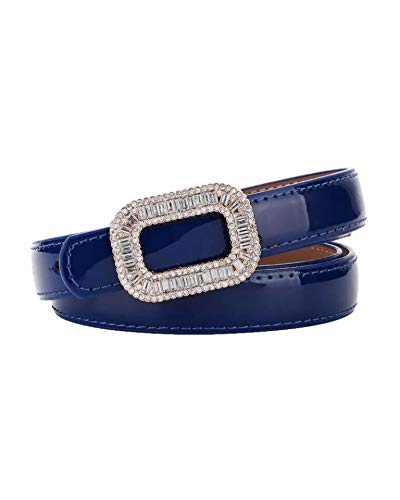 (【CaserBay】Women's Fashion Elegant Shiny Rhinestone Buckle Skinny Patent Leather Belts Waistband【Blue】)