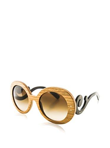 Prada 27RS IAM6S1 Canaletto Walnut 27RS Raw Round Sunglasses Lens Category - Raw Sunglasses