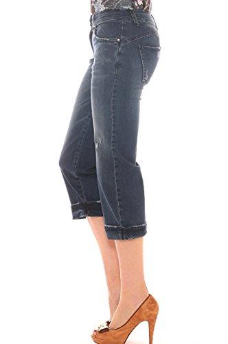 Donna Denim Cotone In Cropped Jeans di Stretch Strappi Con Key TxnwFqtBA1