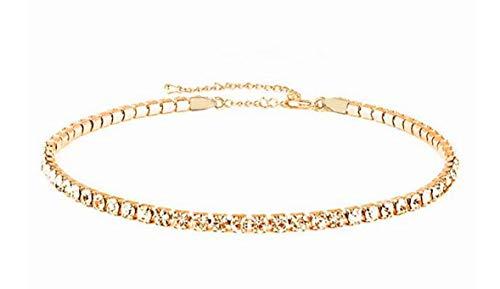 Mooinn Womens Clear Rhinestone Choker Necklace Gold Tone Adjustable