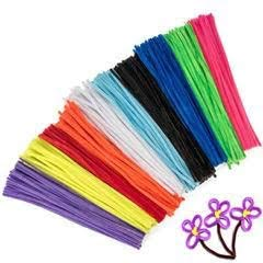 Peachy Keen Crafts 500 Pack Craft Pipe Cleaners - Children's Assorted Chenille Stems - 12 inches