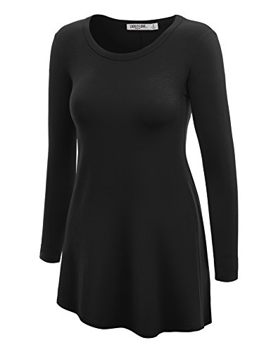 Ll Wt767 Womens Long Sleeve Scoop Neck Trapeze Tunic Xl Black