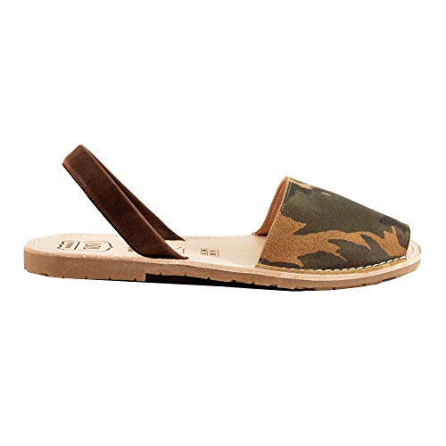 Avarcas Sandals for Women - Handmade in Spain with Natural Leather- Slip on/Slingback Flats (US 10 (EU 40), Camouflage) ()