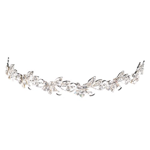 Topwedding Rhinestone Wedding Tiara Headband Bridal Floral Headpiece Hair Jewelry Women Girls -