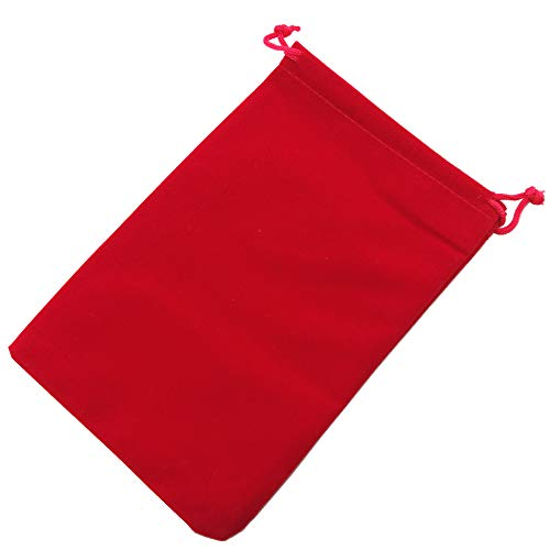 Pack of 25 Velvet Gift Bags Drawstring Jewelry Pouches Candy Bags Wedding Favors (6 X 4, red)