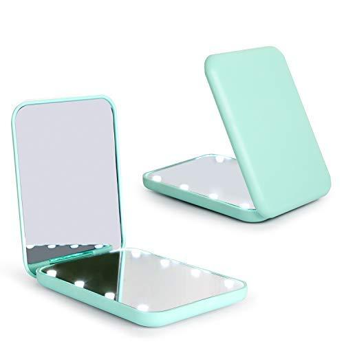 Wobsion Espejo plegable LED con interruptor magnetico de 2 lados 1x/3x, espejo para el maquillaje de viaje, espejo de bolsillo para bolso, espejo de maquillaje con luces LED, regalo para ella verde
