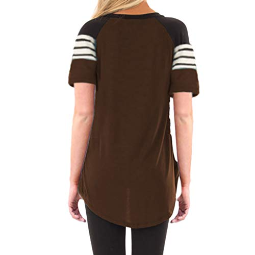 camisetas Blusa Patchwork Casual Café Mujer Elegante Camiseta Manga Rawdah Verano Corta Fiesta Suelta Rayas Originales Top qBgv6Rdx