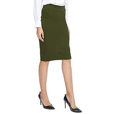 Urban CoCo Women's Elastic Waist Stretch Bodycon Midi Pencil Skirt at Women's Clothing store