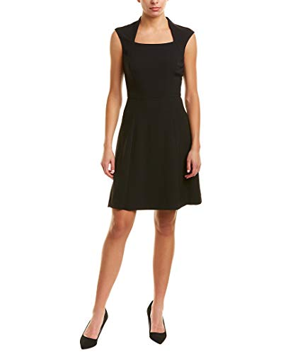 (Tahari by ASL Women's Cap Sleeve Matte Jersey Dress wih Full Skirt Black 8)