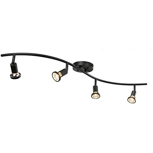 DnD 4-Light Adjustable Track Lighting Kit - GU10 Halogen Bulbs Included. CE2001-BZ (Black)