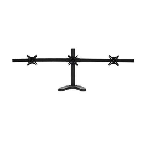 (NavePoint Triple LCD Curved Monitor Mount Stand Free Standing With Adjustable Tilt Holds 3 Monitors Up To 24-Inches Black)