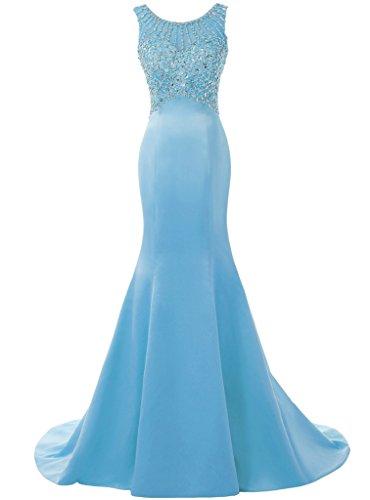 Women's Gowns Ice Bridesmaid Dress Wedding Solovedress Blue Mermaid Dress Long Prom Evening Beaded qwvH0d