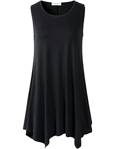 Lanmo Women Plus Size Solid Basic Flowy Tank Tops Summer Sleeveless Tunic(2X, Black)