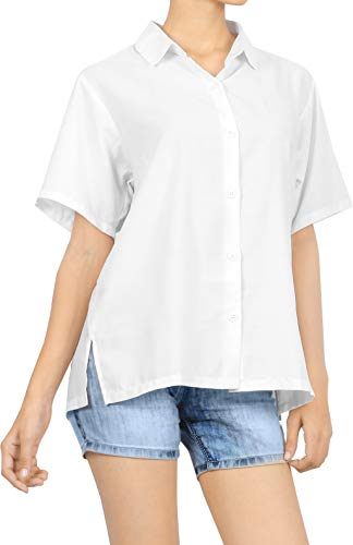 LA LEELA Women's Hawaiian Shirt Relaxed Fit Tropical Beach Shirt XL White_X538