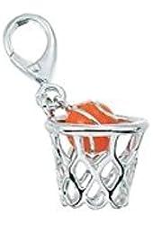 Zable Sterling Silver Enamel Basketball Clip-On Bead Charm (11 X 13 mm)