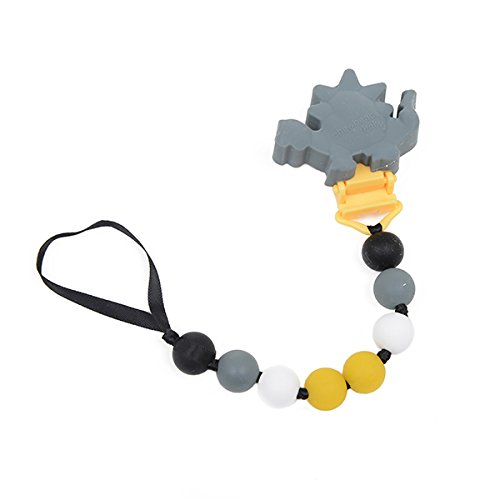 CB GO by Chewbeads Wheres the Pacifier? Clip, 100% Safe Silicone - Dinosaur