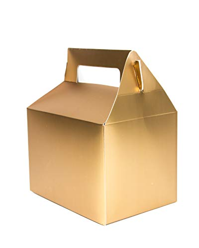 Wrap N Roll Christmas Cookie Gift Boxes Metallic Gold Treat Box with Handle for Favors On Holiday, Birthday Party for Kids, Wedding, Baby and Bridal Shower (Set of 12)