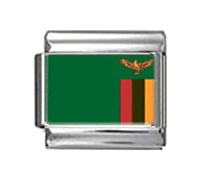 ZAMBIA ZAMBIAN FLAG Photo Italian Charm 9mm - 1 x PC197 Single Bracelet Link