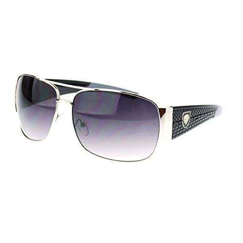 Luxury Fashion Speed Sport Car Racer Lion Shield Rectangular Sunglasses Silver - Sunglasses Lion