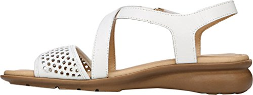 Naturalizer Juniper Women N/S Open Toe Synthetic Tan Sandals White Leather wiki hot sale cheap price clearance discount WZpOTMoB